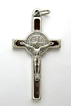 画像1: イタリア直輸入 聖ベネディクト十字架(銀・茶)