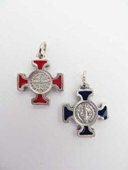 画像2: 聖ベネディクトのメダイ十字架 赤・青セット  ※返品不可商品