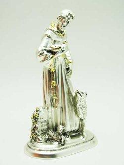 画像4: レジン製聖フランシスコ像(銀メッキ加工)