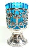ガラス付きアンチ燭台(銀色・ブルー)