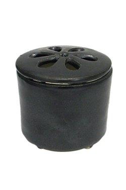 画像1: 信楽焼き陶器香炉(鉄黒色)灰・炭付きセット