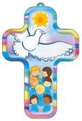 イタリア製木製壁掛け十字架 ハトと子ども