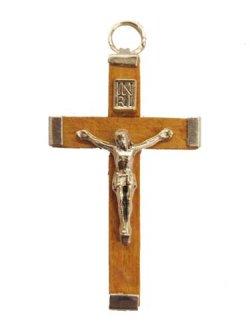 画像1: イタリア直輸入 金属枠木製十字架(薄茶)