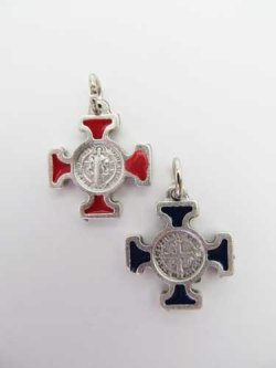 画像1: 聖ベネディクトのメダイ十字架 赤・青セット  ※返品不可商品