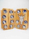 オリーブ製二面つい立「十字架の道行」(青)