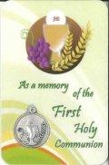 メダイ付き初聖体カード(As a memory of the First Holy Communion) ※返品不可商品