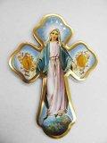 壁掛け十字架 不思議のメダイの聖母(小冊子付)