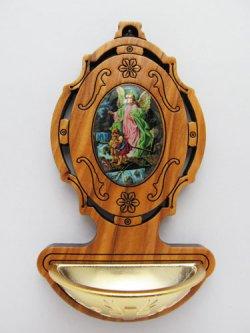 画像1: オリーブ製 聖水入れ 守護の天使