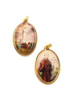 画像1: 楕円 ファティマの聖母とアッシジの聖フランシスコの両面メダイ(大) ※返品不可商品