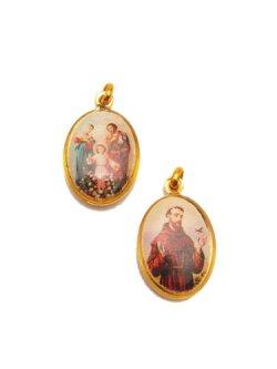 画像1: 楕円 アシジの聖フランシスコと聖家族の両面メダイ(小) ※返品不可商品
