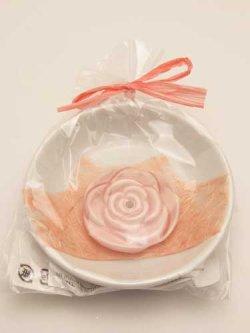 画像1: ピンクローズ香立 皿付  ※返品不可商品