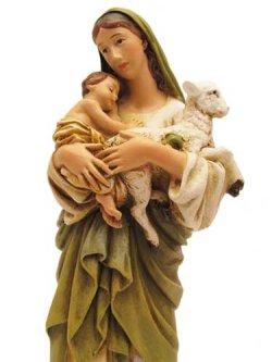 画像3: 聖像 再生木材製聖母子とひつじ像(Mary with Child and sheep)