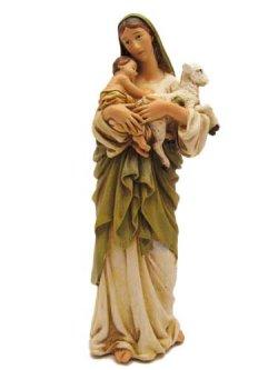 画像1: 聖像 再生木材製聖母子とひつじ像(Mary with Child and sheep)