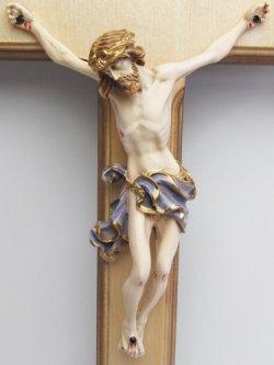 画像2: 木製壁掛け十字架(像付・青)
