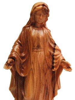 画像2: オリーブ製木彫り像(無原罪の聖母)約17cm