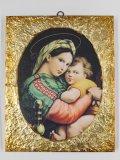 金縁スクエア板絵 小椅子の聖母(ラファエロ)