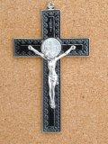 金属掛け十字架(聖ベネディクト・銀黒 12cm) ※返品不可商品
