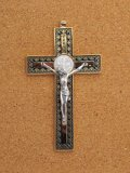金属掛け十字架(聖ベネディクト・金黒 12cm) ※返品不可商品
