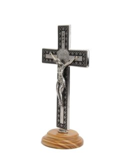 画像2: 台付十字架(聖ベネディクト・銀黒 13.5cm) ※返品不可商品