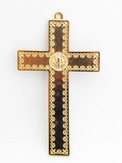 画像2: 金属掛け十字架(聖ベネディクト・金黒 12cm) ※返品不可商品