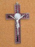 金属掛け十字架(聖ベネディクト・銀赤 12cm) ※返品不可商品