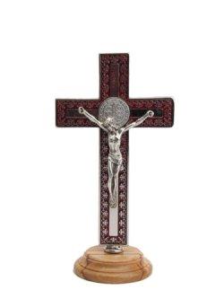 画像1: 台付十字架(聖ベネディクト・銀赤 13.5cm) ※返品不可商品