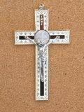 金属掛け十字架(聖ベネディクト・金白 12cm) ※返品不可商品