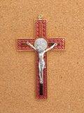 金属掛け十字架(聖ベネディクト・金赤 12cm) ※返品不可商品