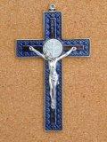 金属掛け十字架(聖ベネディクト・銀青 12cm) ※返品不可商品