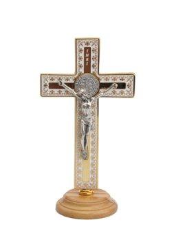 画像1: 台付十字架(聖ベネディクト・金白 13.5cm) ※返品不可商品
