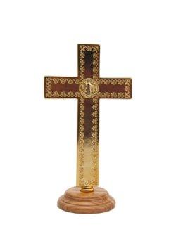 画像3: 台付十字架(聖ベネディクト・金赤 13.5cm) ※返品不可商品