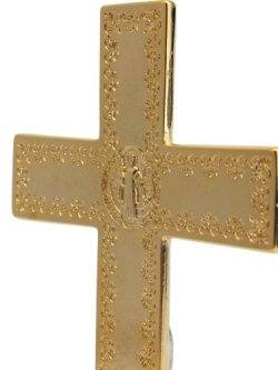 画像4: 台付十字架(聖ベネディクト・金白 13.5cm) ※返品不可商品