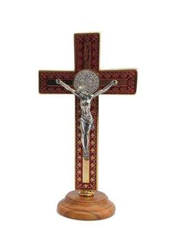 画像1: 台付十字架(聖ベネディクト・金赤 13.5cm) ※返品不可商品