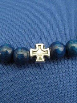 画像2: 木玉とメタル製ロザリオブレスレット(聖ベネディクト 銀・青)