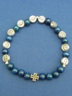 画像1: 木玉とメタル製ロザリオブレスレット(聖ベネディクト 銀・青)